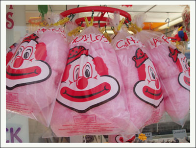 Bags of Freshly Spun Candy Floss Cotton Candy